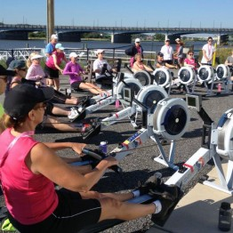 An erg workout in the sun